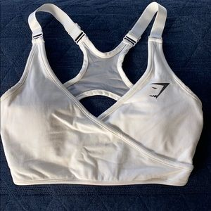 Gymshark White Cross-Over Sports Bra